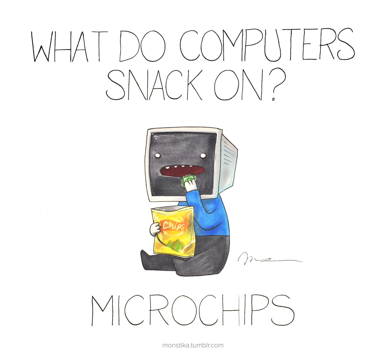What computers snack on?