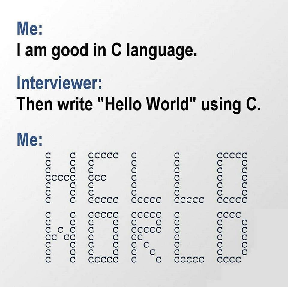 I'm good in C language