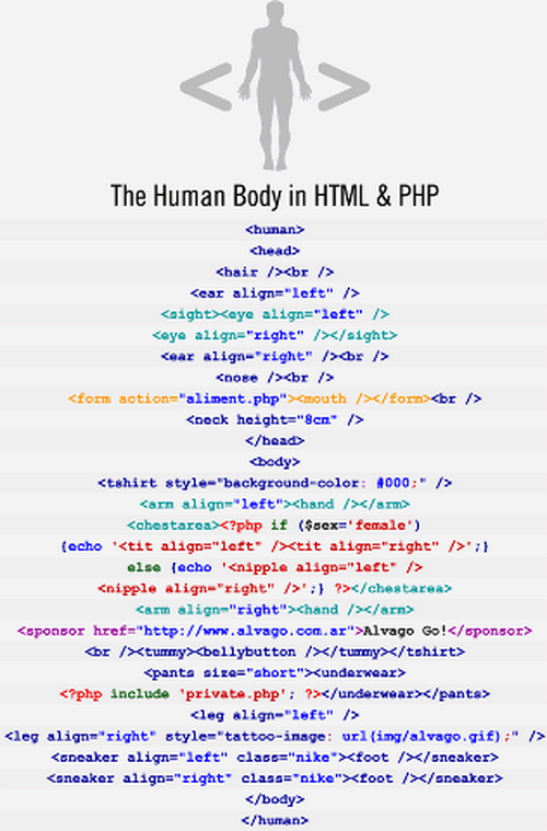 Human body in HTML & PHP