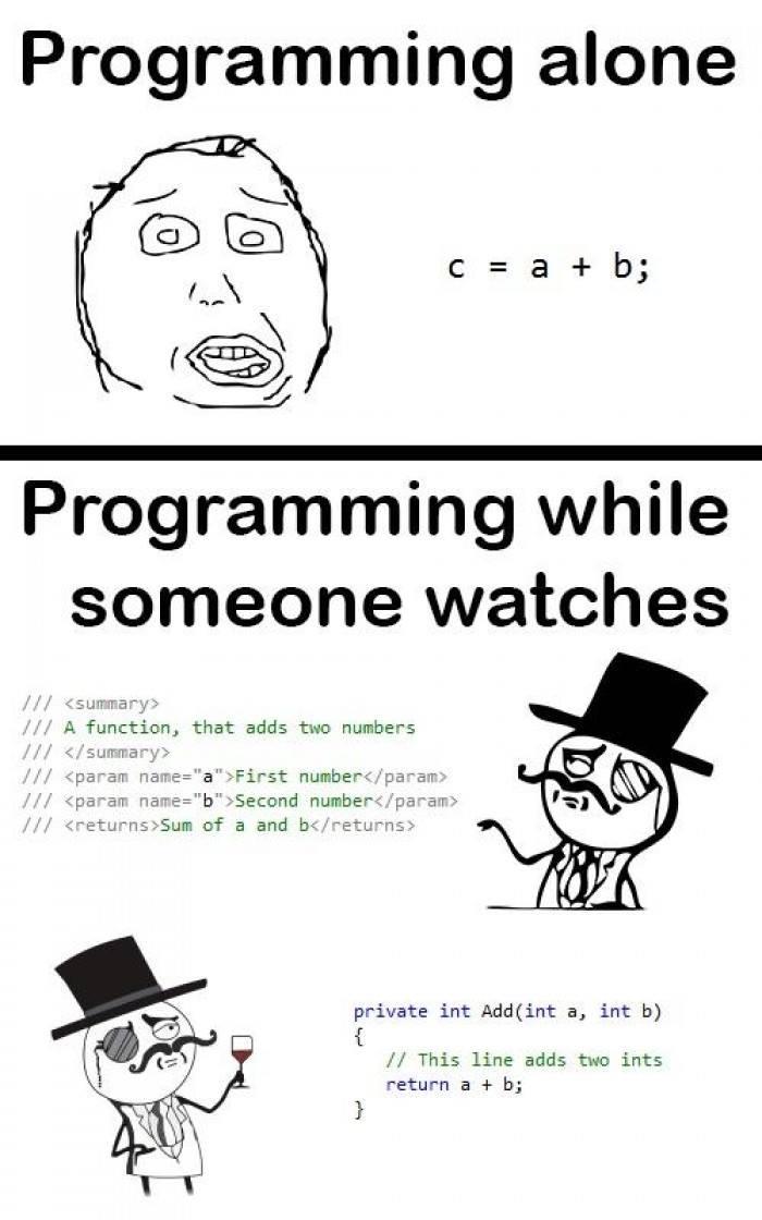 Programming alone vs Programming when someone watches